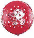 3FT Black & Ruby Red  Casino Dice & Cards Latex Balloons x 2